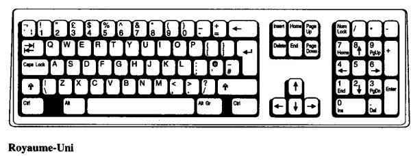 clavier grande bretagne ou Royaume-Uni