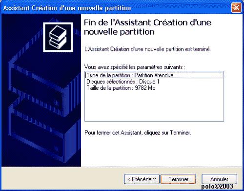 paramètres de la partition etendue
