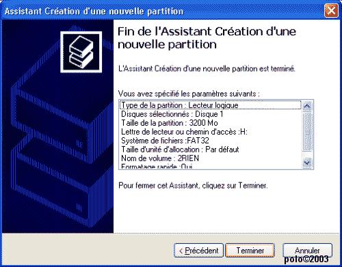 paramètres de la partition logique