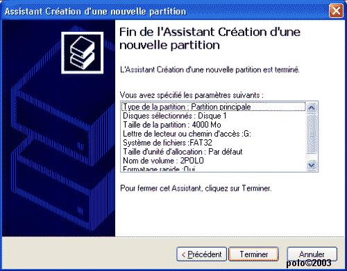 paramètres de la partition principale