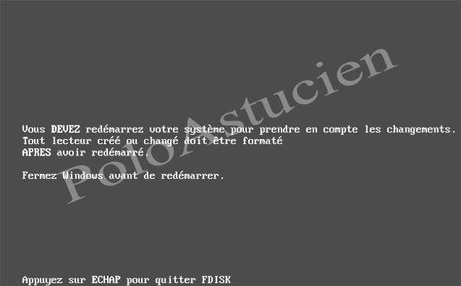 écran d'invite de reboot