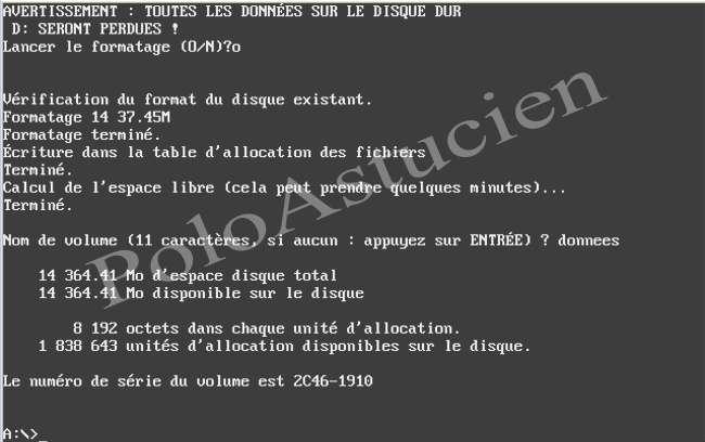 paramètre de la partition et retour invite DOS