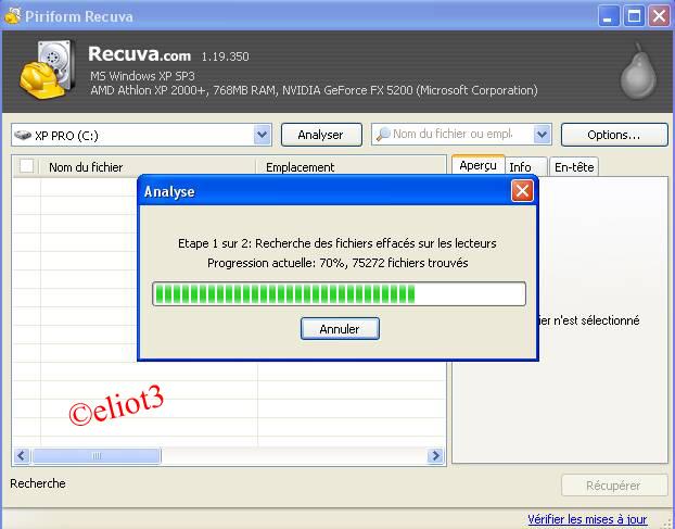 recherche de fichiers effac�s