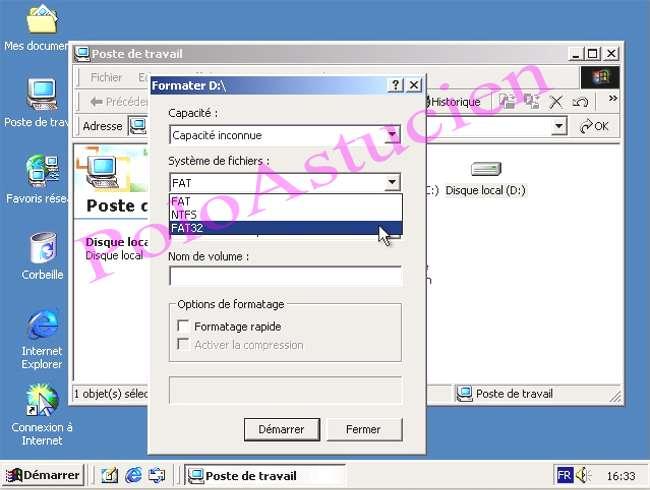 choisissez NTFS ou FAT32