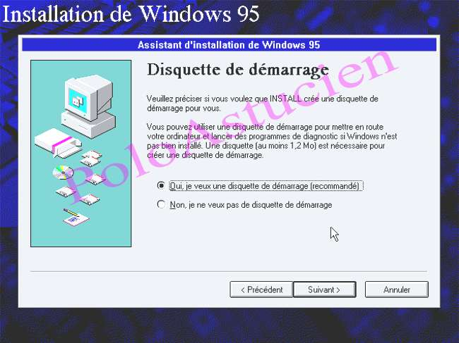 DE 95 DISQUETTE TÉLÉCHARGER DEMARRAGE WINDOWS