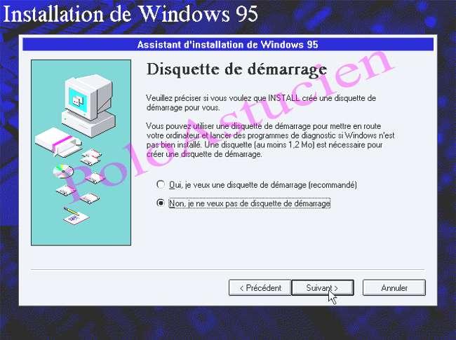 annulation de demande de disquette de boot