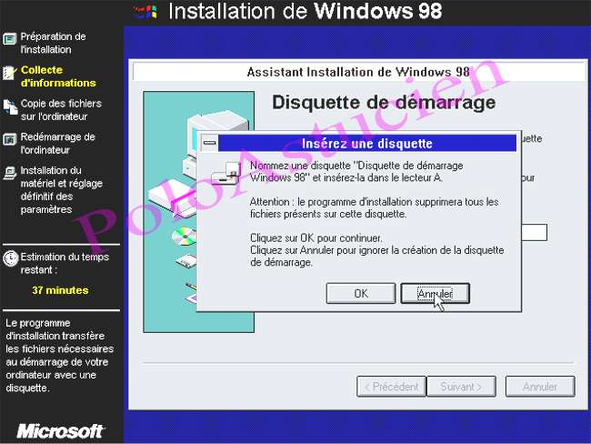 disquette de boot win98