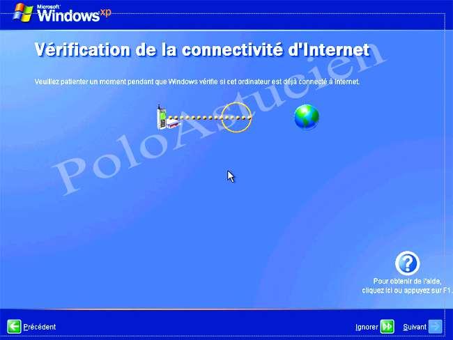 vérification connectivité d'internet